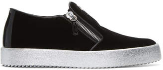 Giuseppe Zanotti Black Velvet London Slip-On Sneakers