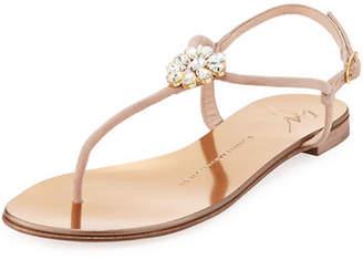 Giuseppe Zanotti Crystal-Embellished Flat Thong Sandals