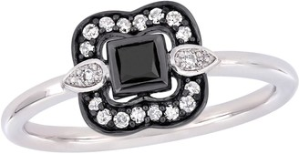 Stella Grace 10k White Gold 1/4 Carat T.W. Black & White Diamond Bohemian Ring