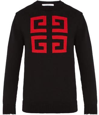 Givenchy Logo Patterned Cotton Sweater - Mens - Black Red