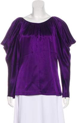 Jay Godfrey Silk Cold-Shoulder Top