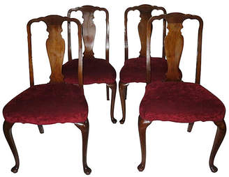 One Kings Lane Vintage Queen Anne Dining Chairs - Set of 4