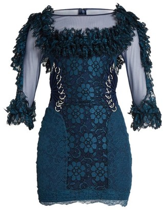 Christopher Kane Contrast Panel Ring Embellished Lace Mini Dress - Womens - Navy
