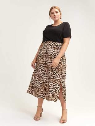 Leopard Print Slit Skirt - L&L