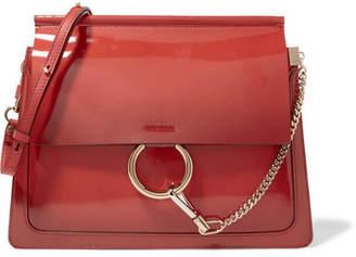 Chloé Faye Medium Glossed-leather Shoulder Bag - Red