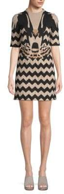 Valentino Embroidered Chevron Sheath Dress