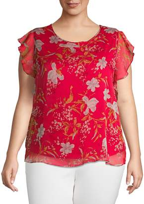 Vince Camuto Ruffle-Sleeve Wildflower Knit Underlay Blouse