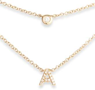 Ef Collection Diamond Bezel Initial Choker