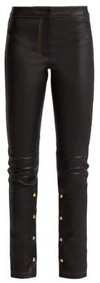 Loewe Mid Rise Skinny Leg Leather Trousers - Womens - Black