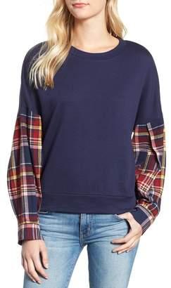 Caslon Flannel Sleeve Sweatshirt (Regular & Petite)
