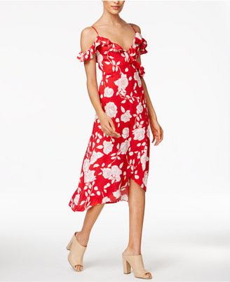 Minkpink Enchanted Rose Cold-Shoulder Wrap Dress $109 thestylecure.com