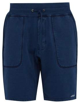 Saturdays NYC Austin Logo Print Fleeceback Cotton Shorts - Mens - Blue