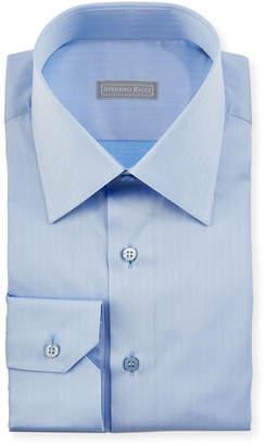 Stefano Ricci Herringbone Dress Shirt, Light Blue