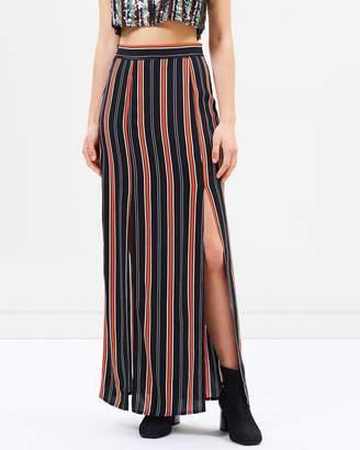 Miss Selfridge Stripe Split Front Maxi Skirt