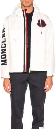 Moncler Logo Windbreaker in White   FWRD