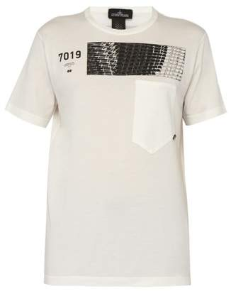 Stone Island Shadow Project - Geometric Print Cotton T Shirt - Mens - White
