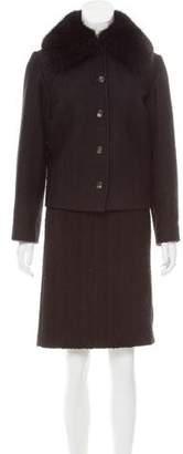 Dolce & Gabbana Tweed Fur-Trimmed Skirt Suit