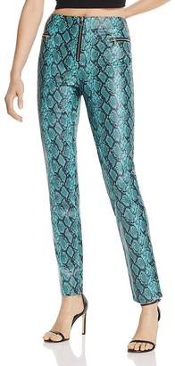 Tiger Mist Pearl Snakeskin-Print Faux Leather Pants