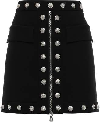 Versace Button-embellished Zip-detailed Crepe Mini Skirt
