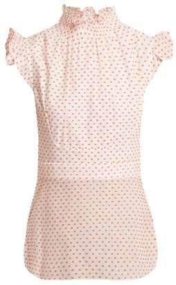 Teija Dot Flocked Cotton Top - Womens - Orange White