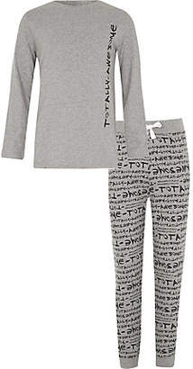 River Island Boys grey 'totally awesome' print pajama set