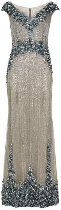 Badgley Mischka Beaded Sleeveless Gown
