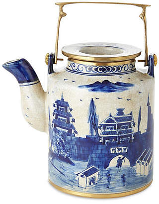 One Kings Lane Small Great Wall Teapot - Blue/White