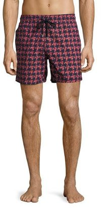 Vilebrequin Moorea Fish Foot Swim Trunks, Navy/Red $250 thestylecure.com