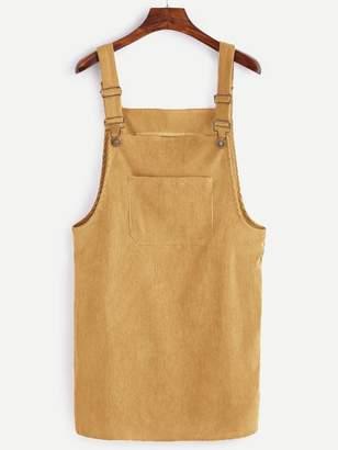 Shein Front Pocket Corduroy Pinafore Dress