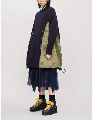 Sacai Contrasting-panel straight cotton-blend midi dress