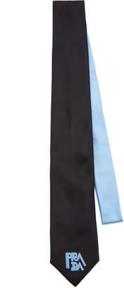 Prada Two-Tone Silk Logo Tie