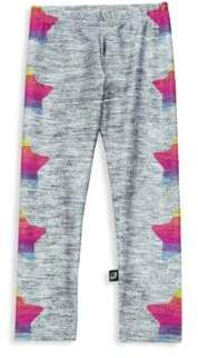 Terez Little Girl's& Girl's Rainbow Star Print Leggings