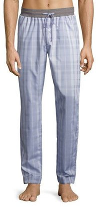 Hanro Harvey Plaid Woven Lounge Pants, Light Gray $155 thestylecure.com
