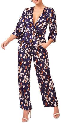 Girls On Film Shona Navy Spot Satin Tie-Waist Trousers