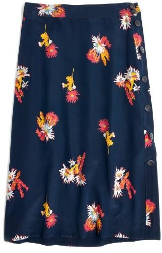 Women's Madewell Side Button Silk Skirt