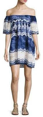 La Blanca Designer Jeans Tie-Dye Lace-Trim Off-the-Shoulder Mini Dress, Blue $99 thestylecure.com