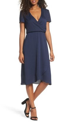 Women's Charles Henry Faux Wrap Midi Dress $98 thestylecure.com