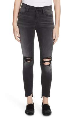 Frame Le High Skinny Ripped Ankle Jeans