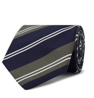 21a9e317f786 Kingsman Drake's 8cm Striped Silk and Cotton-Blend Twill Tie - Men - Army  green