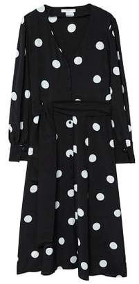 MANGO Bow polka-dot dress