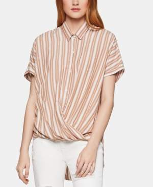 BCBGeneration Striped Faux-Wrap Shirt