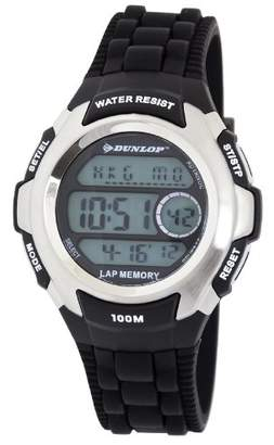 Dunlop Unisex Digital Watch with LCD Dial Digital Display and Black Plastic or PU Strap DUN-205-G01
