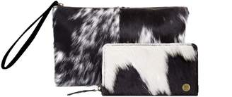 MAHI Leather - Matching Clutch & Purse Gift Set In Black & White Pony Hair Leather