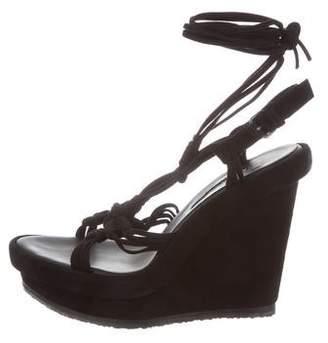 Ann Demeulemeester Suede Platform Wedge Sandals