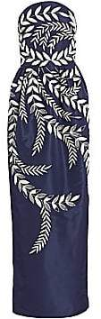 Oscar de la Renta Women's Fern-Embroidered Strapless Silk Two-Pocket Gown