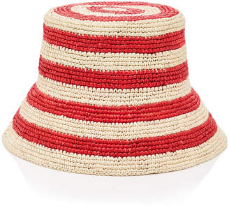 Sensi Studio Exclusive Striped Straw Bucket Hat Size: M