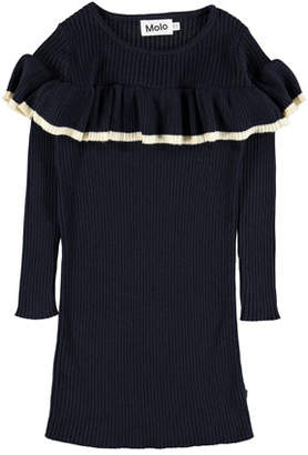 Molo Celise Ruffle-Trim Long-Sleeve Rib Knit Dress, Size 3T-14