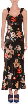 ATTICO Scoop-Neck Tie-Strap Floral-Print Velvet Ankle-Length Gown