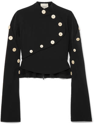 Awake Button-embellished Stretch-crepe Top