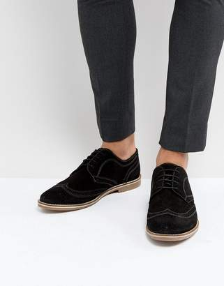 Red Tape Brogues In Black Suede